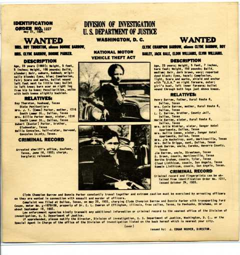 Bonnie and Clyde Wanted Poster front 600 dpi