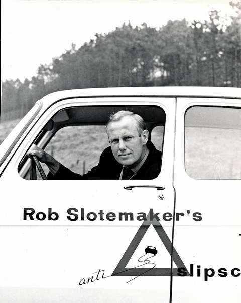 1965 Rob Slotemaker in one of the Simca's of het Car Control or Anti Skid School